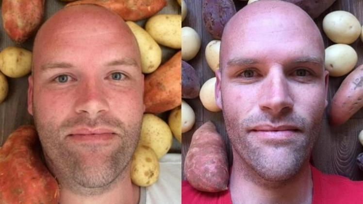 hombre solo come patatas